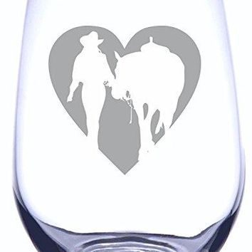 IE Laserware Girl amp Horse Heart Silhouette Laser Etched Engraved Wine Glass  17 Ounce Stemless Wine Glass