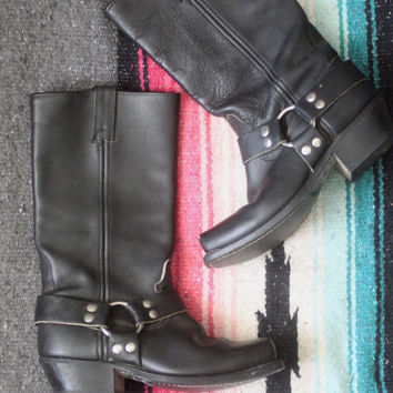 Vintage Biker Babe // Double H HH Harness Motorcycle Boots // Black Genuine Leather // Mid Calf // Low Heel // Women's US Size 7.5