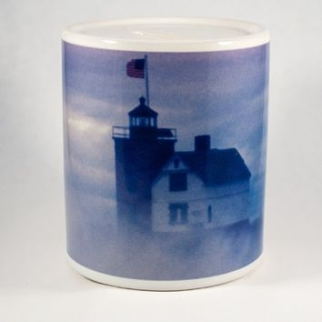 Coin Bank, Ceramic, Round Island Lighthouse in Fog Design