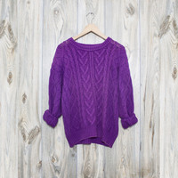 Vintage Purple Cable Knit Oversized Sweater