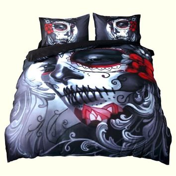 Home Decor Queen Size Duvet Cover Set ,Melancholy Woman With Flowers Fantasy Gothic Mystery Halloween,Bedding Set Bedclothes