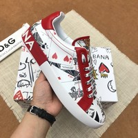 Dolce&Gabbana DG White Black Red Print Low-Top Sneakers - Best Deal Online