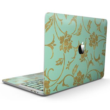 Mint and Gold Floral v3 - MacBook Pro with Touch Bar Skin Kit