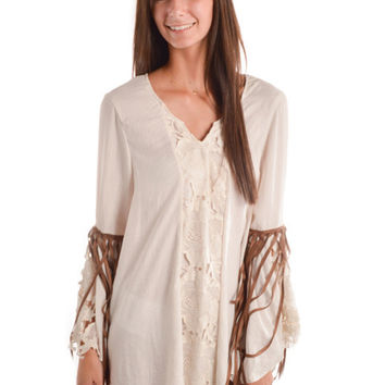 Judith March Cream Fringe Dress