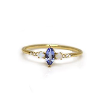 Tanzanite, Opal & Diamond Savoy Ring