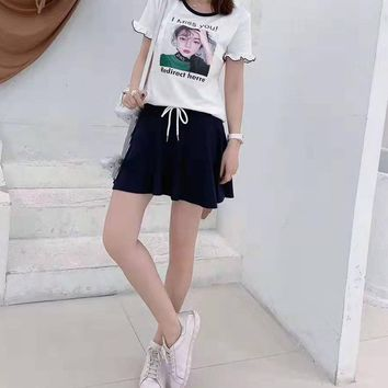 Woman's Leisure  Fashion Letter Personality Printing Short Sleeve Short Skirt Two-Piece Set Casual Wear