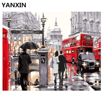 YANXIN DIY Frame Painting By Numbers Oil Paint Wall Art Pictures Decor For Home Decoration E860