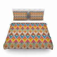"julia grifol ""Small Diamonds"" Brown Gray Pattern Geometric Vector Digital Featherweight Duvet Cover"
