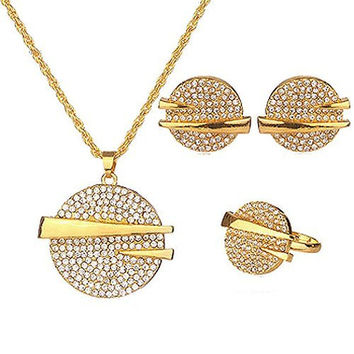Basket Hill, 18K Gold Plated African Statement Set w/ Crystals , Necklace, Earrings, Ring