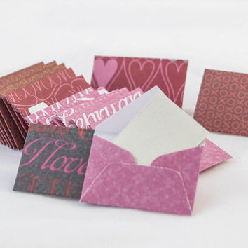 Mini Valentine's Day envelopes with tiny note cards 1x1.5""