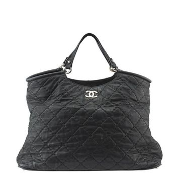 Chanel Black Quilted Leather Tote Shoulder Bag