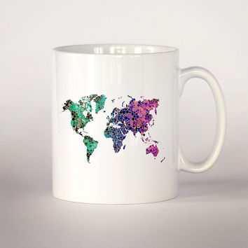 Map of the world mug 3, Map watercolor Tea Cup, coffee cup 11 oz. Mug art, Ceramic Mug art, map mug, Watercolor illustration