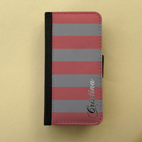 iPhone 4 5 flip case Samsung Galaxy S3 S4 wallet, iPhone wallet, book style, Samsung wallet iPhone 5 - Wide stripes personalized