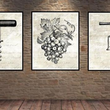 Wine Print. French Country Decor. Farmhouse Decor. Farmhouse Wall Decor. French Country Wall Decor. Dining Room Wall Art. Wine. Vino
