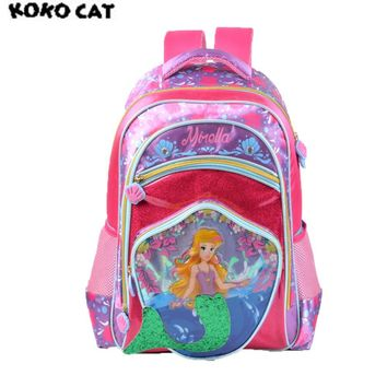 2017 KOKOCAT Cute Mermaid Kids Children School Backpack Bags Bookbag Female School Backpacks for Teens Girls Student Schoolbag