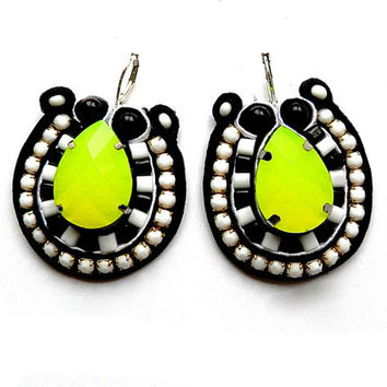 LIME SODA soutache earrings in black and white with dash of neon yellow