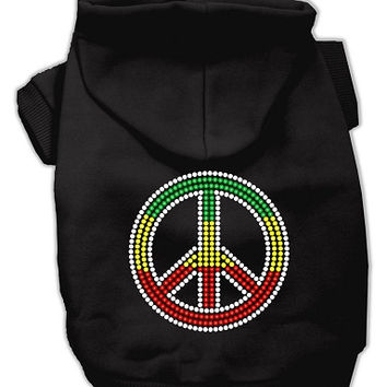 Rasta Peace Sign Hoodie Black L (14)