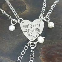 You can't sit with us- sterling silver hand stamped 3 piece puzzle bracelet set, inspired by Mean Girls, handmade by Miss Ashley Jewelry