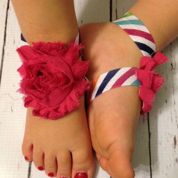 Baby Barefoot Sandals... Striped Barefoot Sandals... Flower Baby Barefoot Sandals