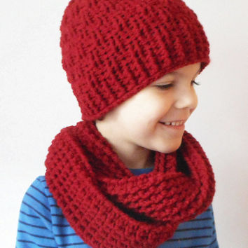 Boys Winter Skullcap and Circle Scarf set in Marsala, ready to ship.