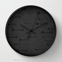 Modern Arrow Wall Clock in Natural Wood, Black, or White Frames Onyx Distressed Man Cave Gift for Him Distressed Unique Dark Bow Archery Fun