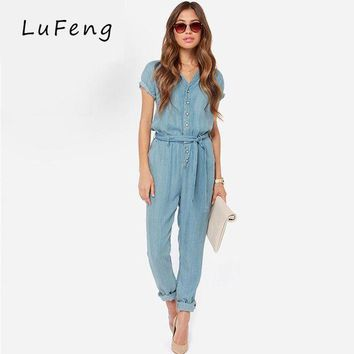 DCCKFV3 Spring New Casual V-Neck Denim Overalls Jumpsuit Loose Bodysuit Rompers Short Sleeve Womens Jeans long Female Jean 15150B653-923