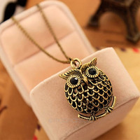 Vintage Antique black Big eye bronze owl retro Long necklace jewellery pendant (Size: M, Color: Bronze) = 1945992260