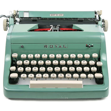1955 Teal Green Royal Quiet De Luxe Typewriter, Professionally Serviced, Royal Typewriter, Working Typewriter, Green Typewriter, Writer Gift