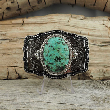 Western Belt Buckle - Natural Stone Belt Buckle - Boho Belt Buckle - Silver Tone Finish with Natural Turquoise