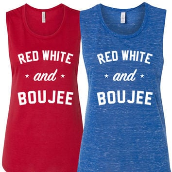 Red White & Boujee - WOMENS FLOWY MUSCLE TANK