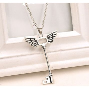 Angel Wings Key Friendship Long Chain Silver Pendant Necklace