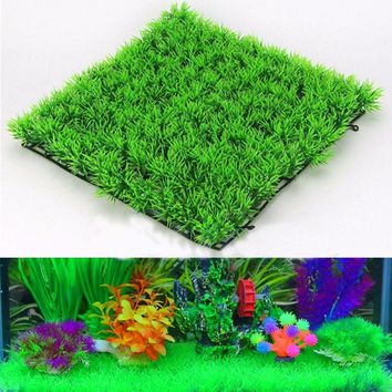 Plastic Artificial Green Grass Fish Tank Ornament Plant Aquarium Lawn Decoration