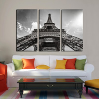 France Paris Eiffel Tower Large Wall Art Canvas Print, Paris Photo Canvas Print, 3 Panel Eiffel Tower 3 Panel Giclee Painting Wall Art