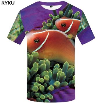 KYKU 3d Fish T-shirt Men Animal Print T Shirt Fishinger Funny T Shirts Tropical Tshirt Summer Hip Hop Mens Clothing Tops S-6xl