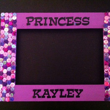 Sequins personalized picture frame, princess frame, 4x6, baby shower or party favor!