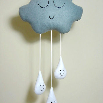 CLOUD & RAINDROPS MOBILE Grey Gray Rain Cloud with White Rain drops - Baby Shower