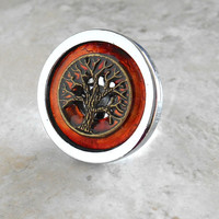 drawer pull: rust - cabinet knob - cabinet pull - drawer handle - dresser knob - decorative knobs - cabinet hardware - dresser hardware