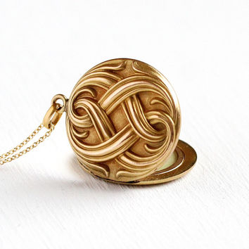 Art Nouveau Locket - Vintage Rosy Yellow Gold Filled Pendant - Antique Edwardian 1900s Large Round Swirling Repousse Jewelry Gift for Her