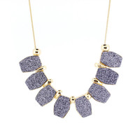 Beautiful Gold-tone Blue Cube Funky Statement Necklace