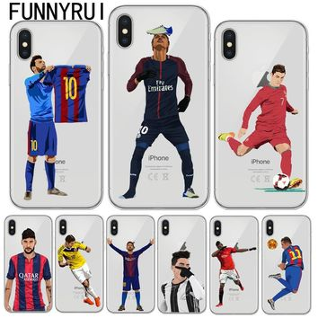 Phone Case Messi Neymar Cristiano Ronaldo Barcelona Football Jersey For iphone 6 6S 7 8 Plus 5S 5 SE X 10 Soft TPU Phone Cover