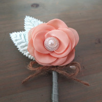 Mint and Peach Boutonniere, Shabby Chic Fabric Rose Boutonniere, Rustic Wedding Boutonniere