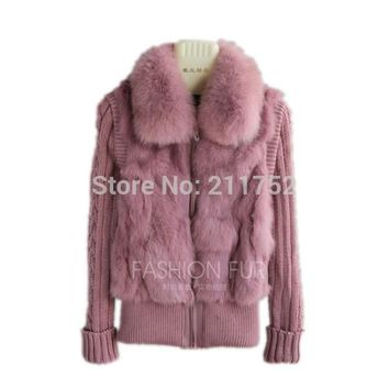 Brand New natural rabbit fur jacket with real fox fur collar real rabbit fur coat in stock