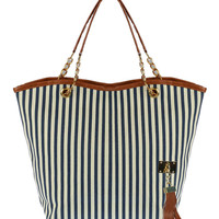 Navy Stripe Tassel Detail Shoulder Bag