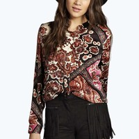 Boutique Sara Silky Scarf Print Collarless Shirt