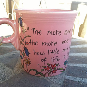 Vita SackvilleWest The more one gardens pink quote mug by OpheliasGypsyCaravan