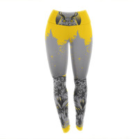 "BarmalisiRTB ""Majesty"" Yellow Owl Yoga Leggings"