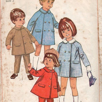 Retro 60s Simplicity Sewing Pattern Toddler Boy Girl Coat Double Breasted Jacket Raglan Sleeves School Coat Size 3
