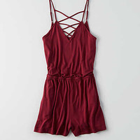AEO Cross-Front Strappy Romper, True Black