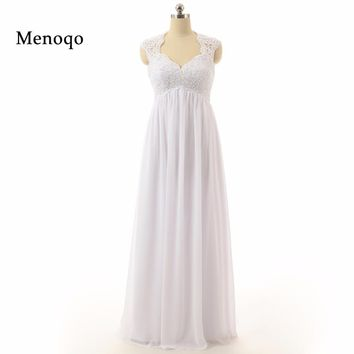 Elegant White Applique Chiffon Long Dresses Floor Length Formal Dresses