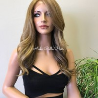 Blonde Balayage Human Hair Blend Deep Parting Lace Front Wig - Toya
